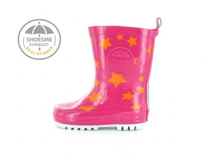 ShoesMe WELLIES with fleece sock (Pink Orange Star)